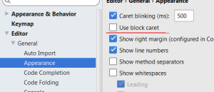 Switch off bold cursor in IntelliJ IDEA